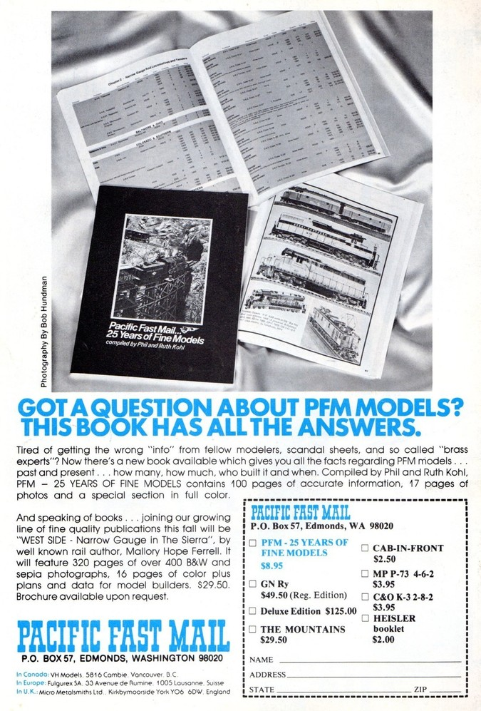 Pacific Fast Mail... 25 Years of Fine Models
